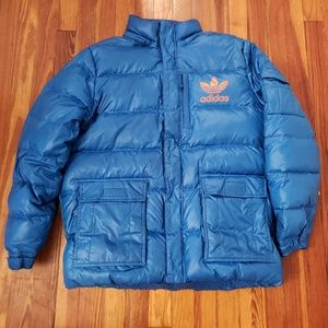 Adidas Blue Vintage Mens Puffer Jacket Size Large.